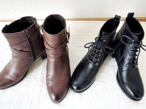 ショートブーツ黒と茶