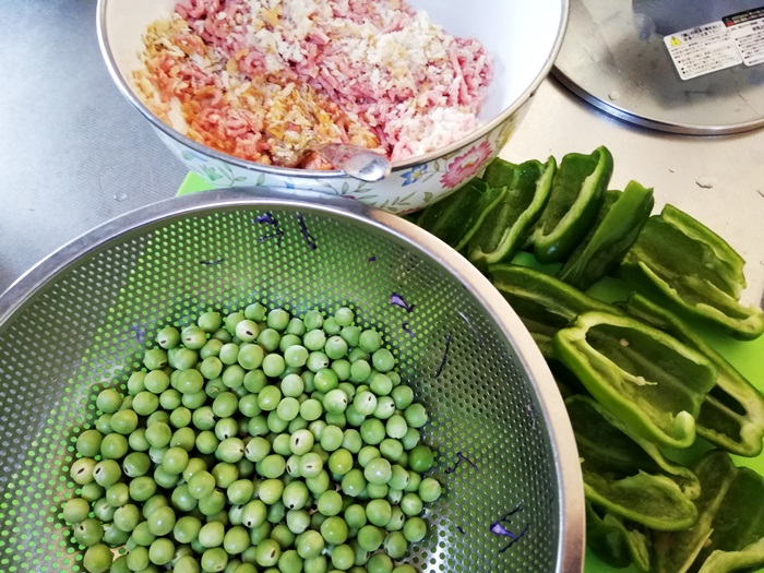 野菜と合い挽きミンチ