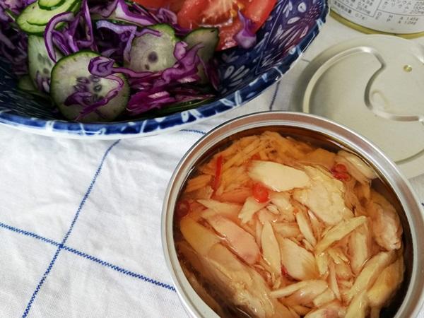 オーシャンプリンセスホワイトツナ国産赤唐辛子入りの入ったサラダ
