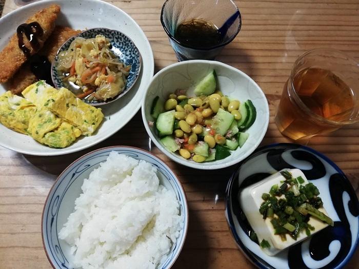 わんまいる三陸産鮭のフライ・キャベツ人参もやしのチャンプルー・秘伝豆と大豆のサラダ