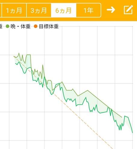 ダイエットアプリのグラフ